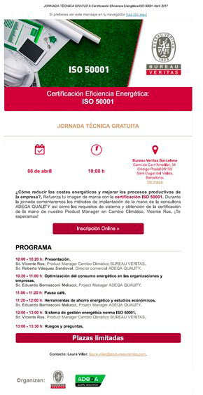 agenda jornada ISO 50001