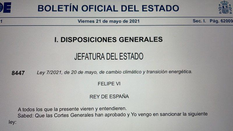 Ley 7/2021 cambio climatico